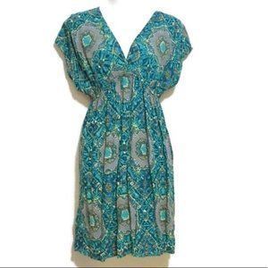 Batik/Boho Style Surplice Deep V-Neck Dress